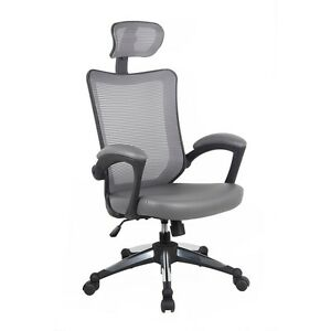 Techni Mobili High back Mesh Executive Office Chair With Headrest Color Gray