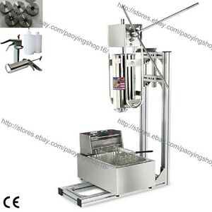 3l Vertical Manual Spanish Donut Churro Machine Maker W 6l Fryer 700ml Filler