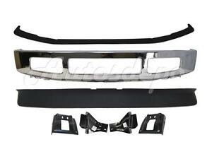 For 2008 10 Super Duty F350 4wd Front Bumper Chrome Face Bar Pad Spoiler Bracket