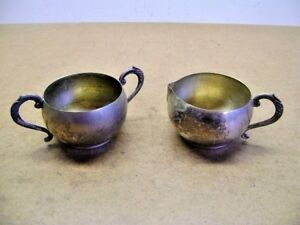 Vtg Silver Plated Copper Simeon George Rogers Cream Sugar Bowl Set Lead Mts