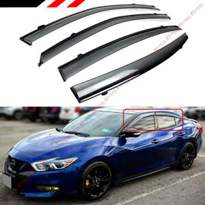 For 2016 2019 Nissan Maxima Vip Clip on Smoke Tinted Window Visor W Black Trim
