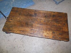 Beautiful Oak Factory Cart Coffee Table Steampunk Antique Industrial Retro 24x48