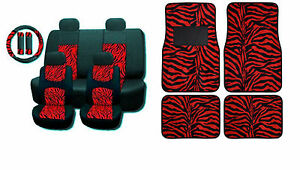 New Red Zebra Mesh 15pc Full Set Car Seat Covers And Floor Mats