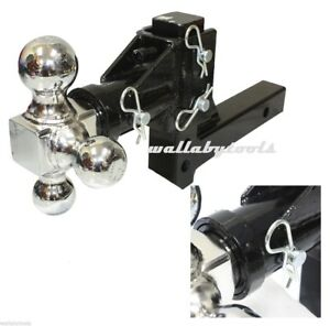 New 3 ball Tri Swivel Adjustable Drop Turn Trailer Tow Hitch Mount 2 Receiver