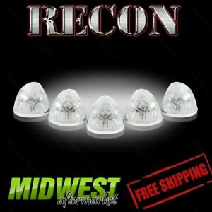 Recon Clear Cab Roof Light Lenses With Amber 194 Bulbs Fits 1994 1998 Dodge Ram