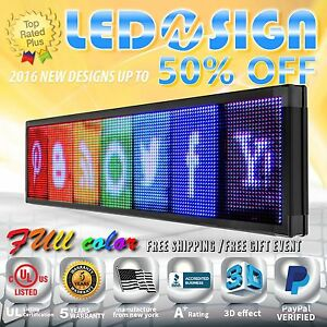 Led Sign Full Color 22 x60 Programmable Emc Scrolling Readerboard Outdoor Sign