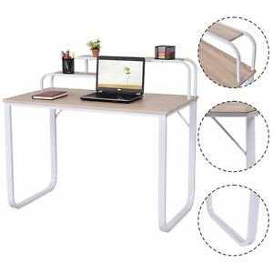 Computer Desk W 2 tier Shelves Home Office Furniture Laptop Writing Study Desk