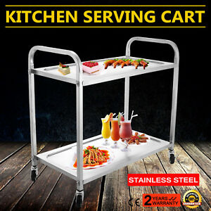 2 Tier Stainless Steel Kitchen Restaurant Utility Cart Rolling Serving Catering