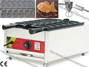 Commercial Nonstick Electric Taiyaki Fish Waffle Machine Maker Baker W Tool Set