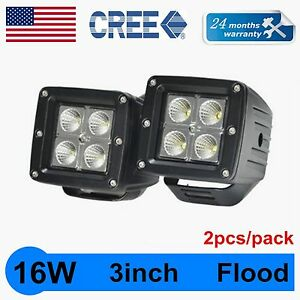 2x 3inch 16w Cree Led Cube Pods Work Lights Atv Suv Off Road Truck Flood Jeep 4
