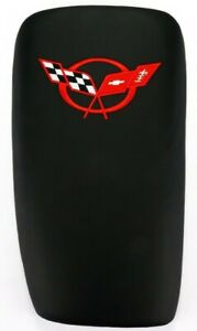 C5 Corvette Center Console Door In Black Leather With Embroidered Red Logo