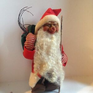 Primitive Antique Old German Vtg Christmas Dwarf Santa Clause Sheep Wool