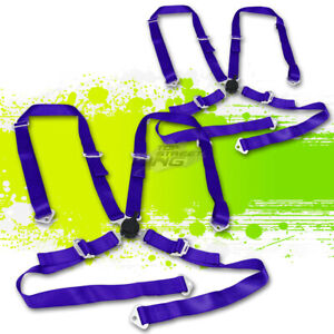 2x Blue 2 Adjustable Strap Racing Seat Belts Belt Safety Harness 4point Camlock
