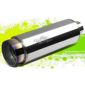 3 inlet With 4 5 burnt Style Tip silencer T304 Steel Round Exhaust Muffler