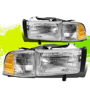 For 94 02 Dodge Ram Chrome Oe Replacement Headlight Assembly corner Light Set