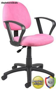 Padded Computer Chair Loop Arms Deluxe Posture Pink Pneumatic Adjustable Seat