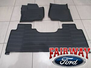 17 Thru 19 Super Duty Oem Ford Tray Style Molded Floor Mat Set 3pc Extended Crew