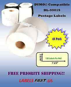 48 Roll Of Dymo 99019 Compatible Costar Adhesive Labeling Internet Postage Tag