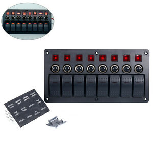 8 Gang Red Led Indicators Rocker Circuit Breaker Marine Boat Rv Switch Panel