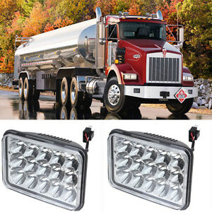 2pcs 4x6 Led Headlights Gree Sealed High Low Beam Fit For Kenworth T800 4500lm