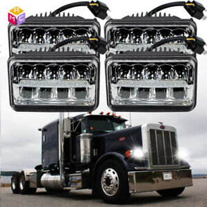 2 Pair Chrome Led Headlight Bulb High Low Sealed Beam Fit Peterbilt 379 378 357