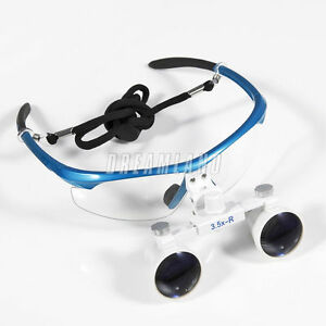 Dental Surgical Binocular Loupes Glasses Lens Magnifier 3 5x 420mm Blue In Usa