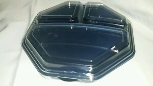 Solo Creative Carryouts Octaview Black Hinged 9 3 Compartment Plastic Container