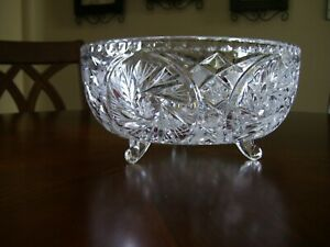 Fine Large American Brilliant Period Deep Cut Crystal Bowl Star Of David 3 Foot