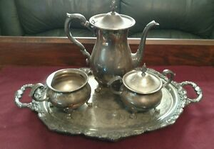 Vintage Bristol Silver Plate By Poole 110 Tea Pot Creamer Sugar W Tray