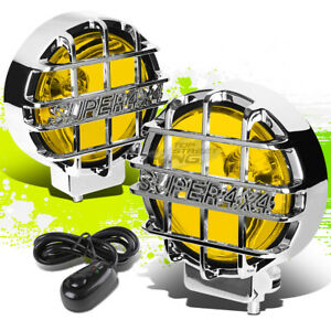 6 round Chrome Body Yellow Fog Light offroad Super 4x4 Guard Work Lamp grille
