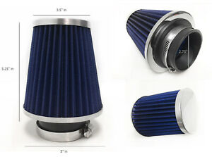 Narrow Blue 2 75 70mm Cold Air Intake Cone Filter For Audi A3 A4 A5 A6 Tt