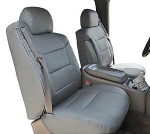 Chevy Silverado 2000 2002 Grey Leather like Custom Front Seat 2arm Covers
