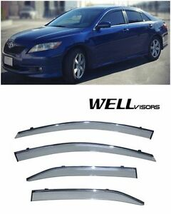For 07 11 Toyota Camry Wellvisors Side Window Visors With Chrome Trim