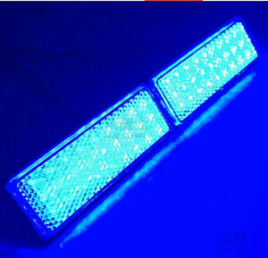 2x Rectangle Reflector Led Blue Tail Brake Stop Light Third Motorcycle Truck