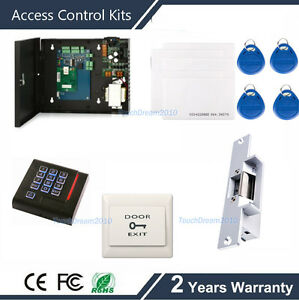 Single Door Access Control System Control Panel pin Reader strike Lock power Box