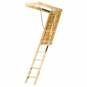 Louisville Ladder L224p 250 pound Duty Rating Wooden Attic Ladder Fits 8 foot To