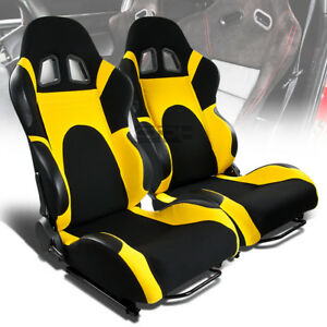 X2 Pair Full Reclinable Left right Black yellow Canvas woven Bucket Racing Seats