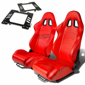 Type 1 Racing Seat Red Pvc Leather silder for 99 04 Mustang Sn 95 Bracket X2