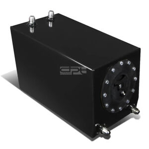 3 Gallon Lightweight Black Coated Aluminum Racing Fuel Cell Tank Bottom Feed