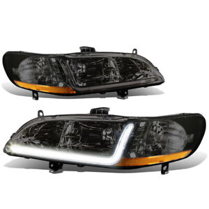 Fit 1998 2002 Honda Accord Pair Smoked Housing Amber Corner Headlight W Led Drl
