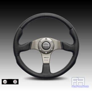 Momo Race 320mm Tuning Steering Wheel Horn Black Leather W Airleather Grips