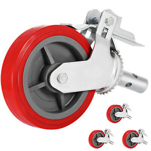 Set Of 4 Plate 8 Polyurethane Scaffolding Casters Red Up to date Styling