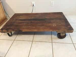 Antique Railroad Trolley Steampunk Industrial Factory Cart Coffee Table 48 X 30