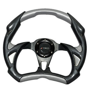 320mm Battle Style Racing Sport Steering Wheel Silver Pvc Leather Carbon Fiber