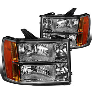For 2007 2014 Gmc Sierra 1500 2500hd Chrome Housing Amber Corner Headlight Lamps