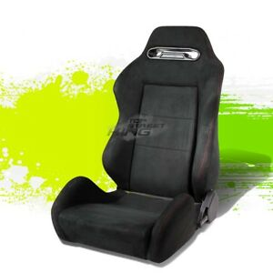 1x Suede Type R Reclinable Jdm Sports Racing Seats Adjustable Slider Driver Side