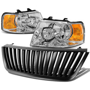 Chrome Clear Headlight Amber Corner Lamps Grille Guard For 03 06 Ford Expedition