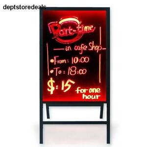 Led Message Board 28 X20 Flashing Illuminated Erasable Writing Box Stand Glass