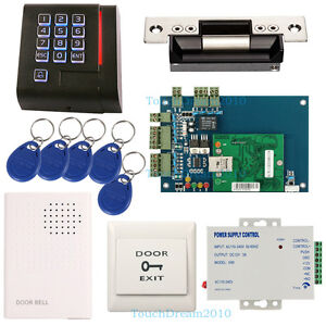 Single Door Access Control System 110v Power Supply strike Lock wired Doorbell