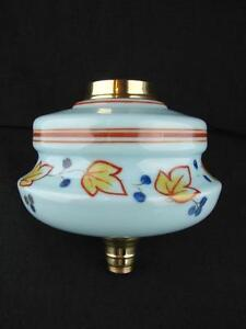 Turquoise Glass Oil Lamp Font Stylised Foliate Decoration Brass Ring Undermount